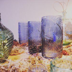 Blue Leaf Print Vase