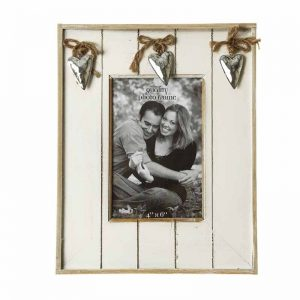 White Washed Wooden Photo Frame with Sliver Hearts