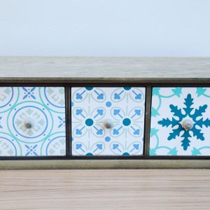 Patterned Blue & Green Drawers
