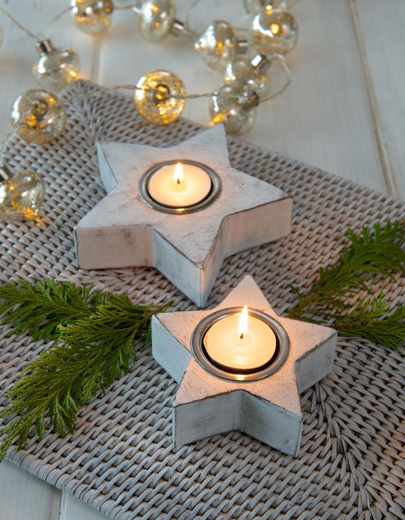 Medium White Star Tea light Holder