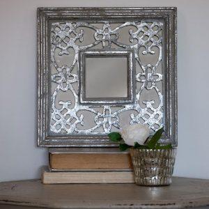 Silver Grey Morroccan Mirror