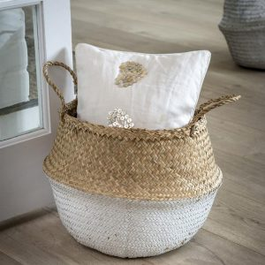 White Dip Seagrass Basket