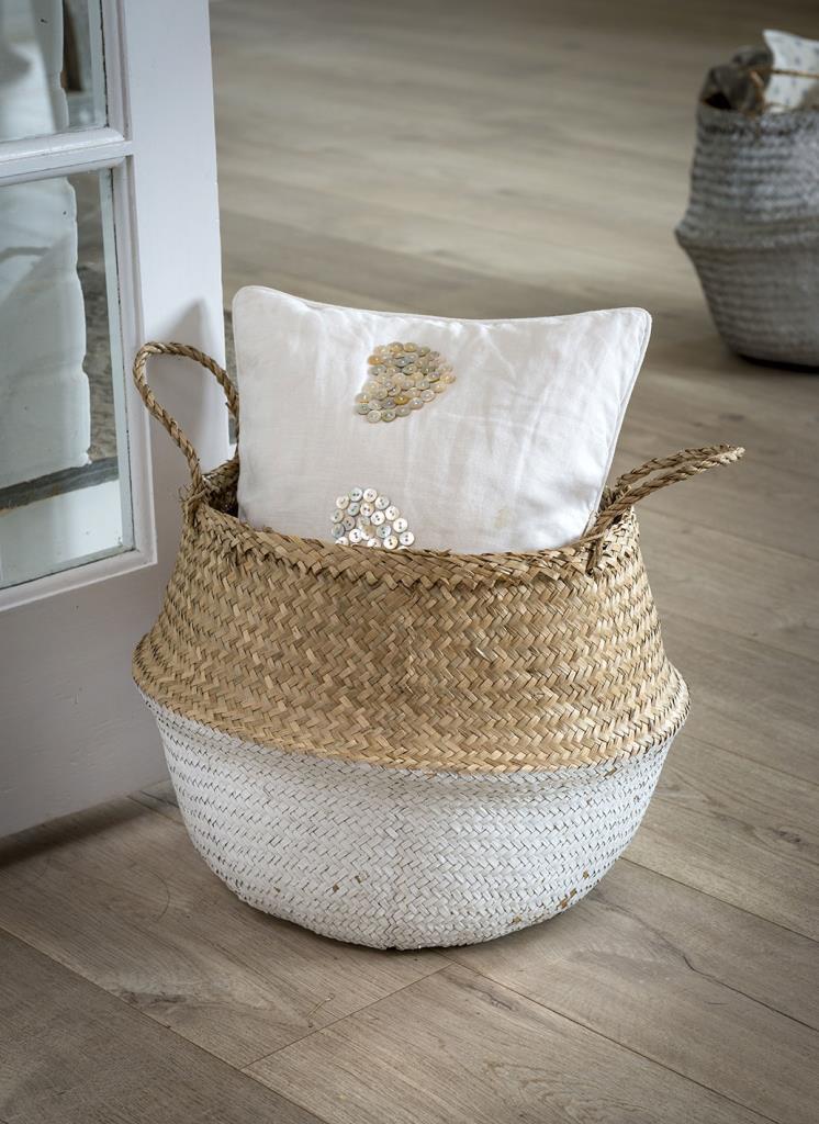 White Dip Seagrass Basket