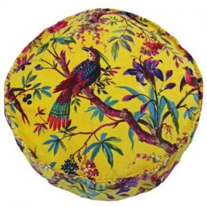 Round Birds of Paradise Floor Cushion Yellow