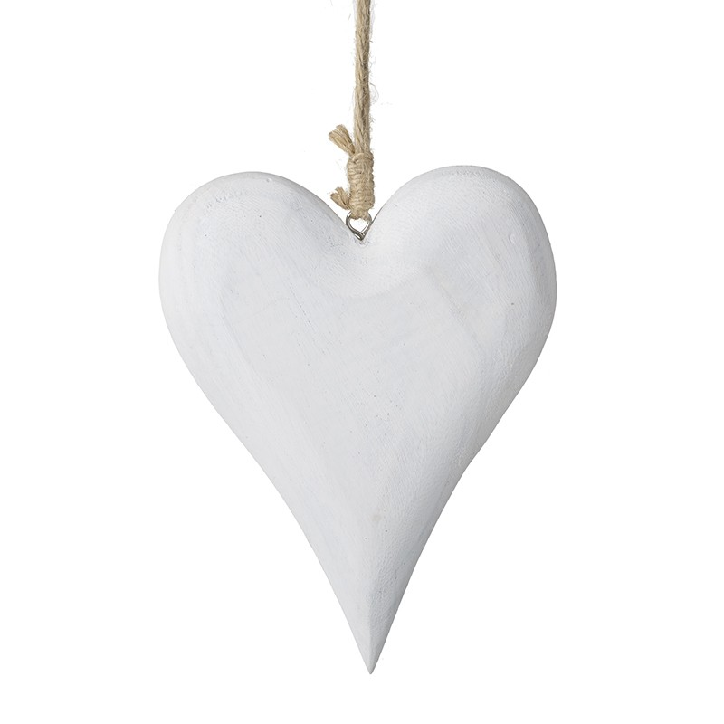 Large White Wooden Hanging Heart