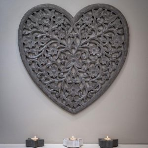 Carved Heart Panel Grey