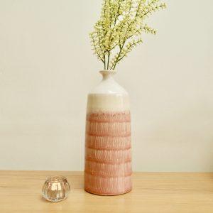 Pink & Cream Ceramic Vase