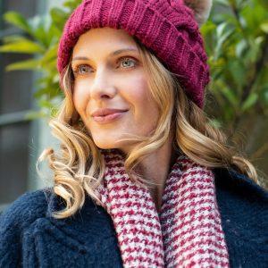 Raspberry Cable Knit Pom Pom Hat