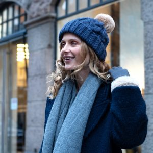 Navy Cable Knit Hat