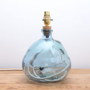 Recycled Glass Lamp Light Blue