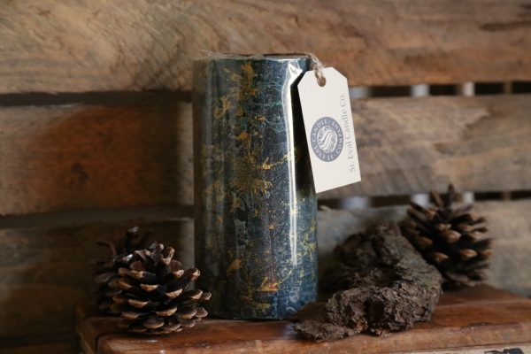 Green & Gold Scented Pillar Candle